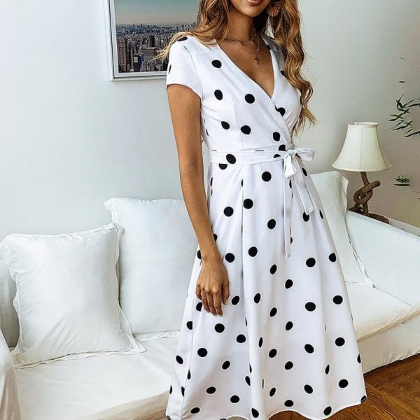 Robe Nouée à Pois 2020 Minute Mode Blanc S
