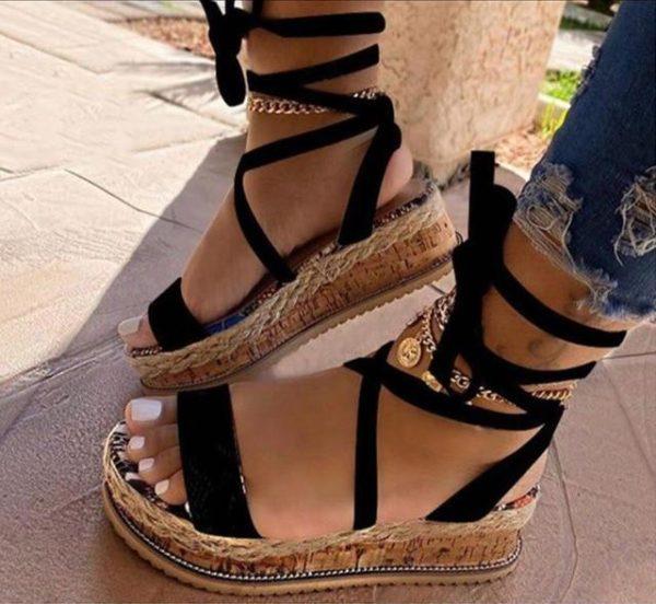 Sandales Confortables à Plateformes Minute Mode Noir 35