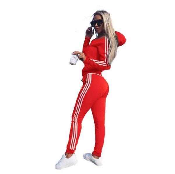 Survêtement Slim à Bandes Site Vêtements Rouge S
