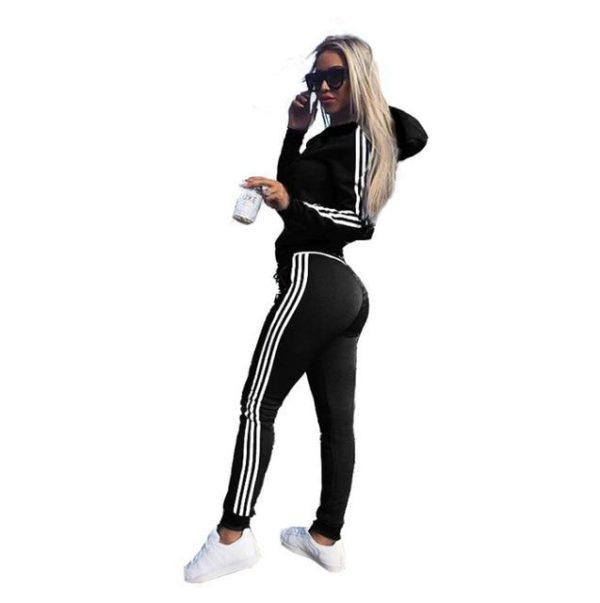 Survêtement Slim à Bandes Site Vêtements Noir M