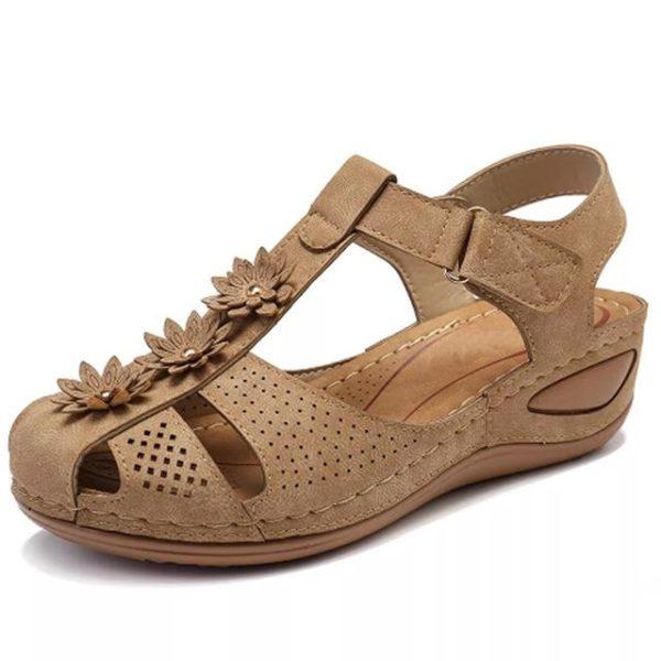 Sandales Orthopédiques à Fleurs Minute Mode Beige 36