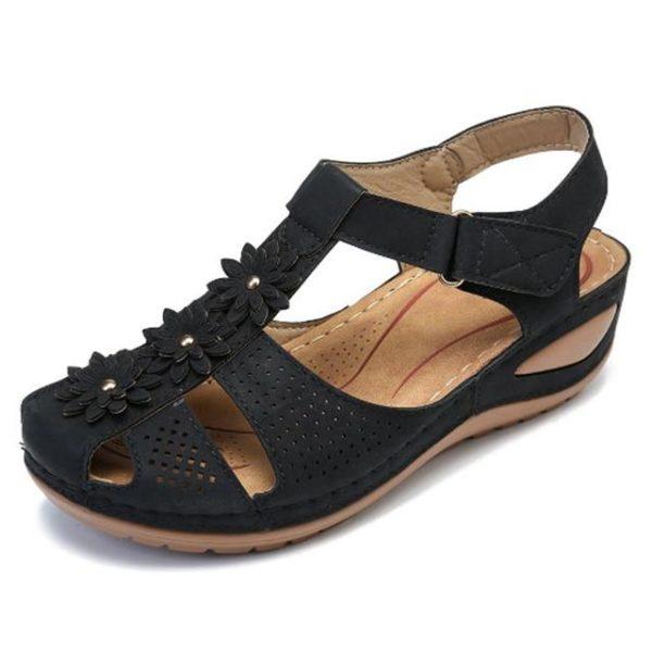 Sandales Orthopédiques à Fleurs Minute Mode Noir 36