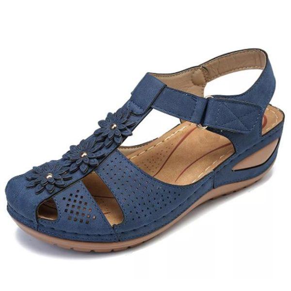 Sandales Orthopédiques à Fleurs Minute Mode Bleu 36