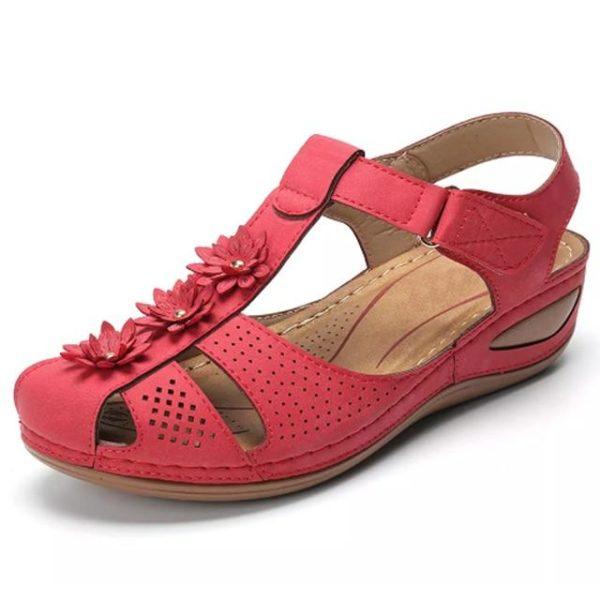 Sandales Orthopédiques à Fleurs Minute Mode Rouge 36