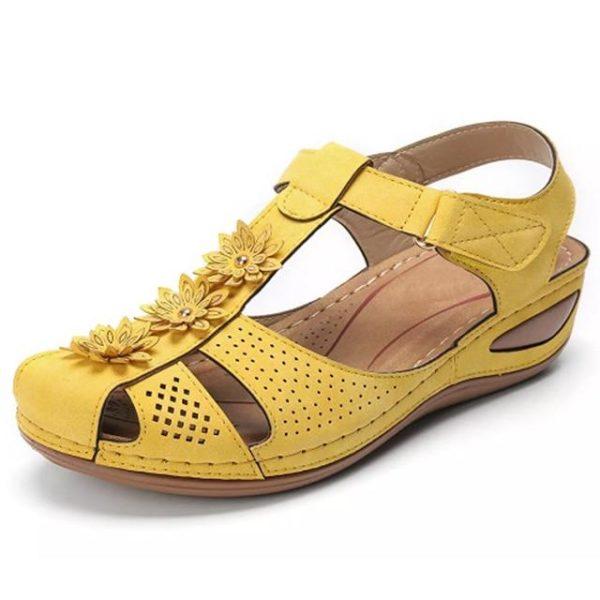 Sandales Orthopédiques à Fleurs Minute Mode Jaune 36