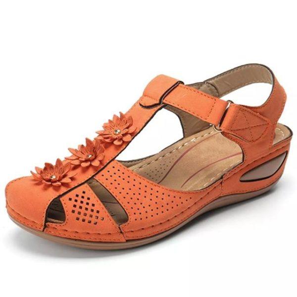 Sandales Orthopédiques à Fleurs Minute Mode Orange 36