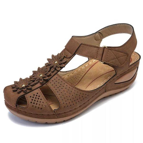Sandales Orthopédiques à Fleurs Minute Mode Marron 36