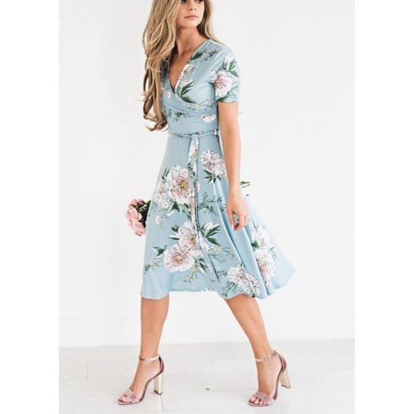 Robe Florale Bohémienne Site Vêtements Bleu S