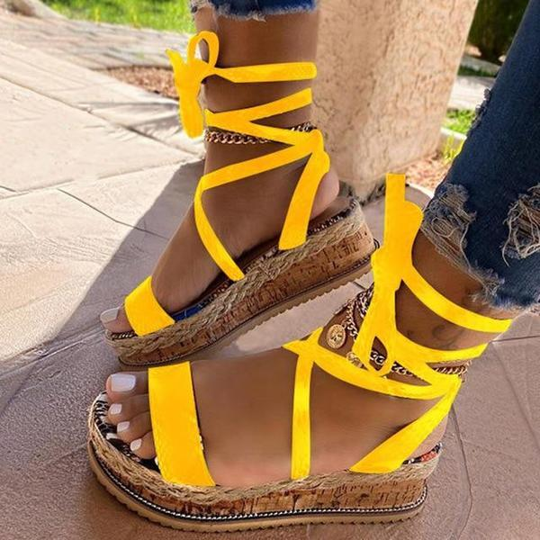 Sandales Confortables à Plateformes Minute Mode Jaune 35