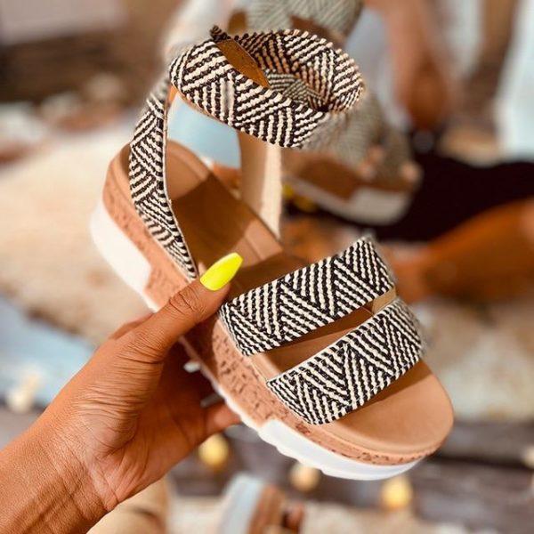 Sandales Été à Plateformes Minute Mode Noir 35