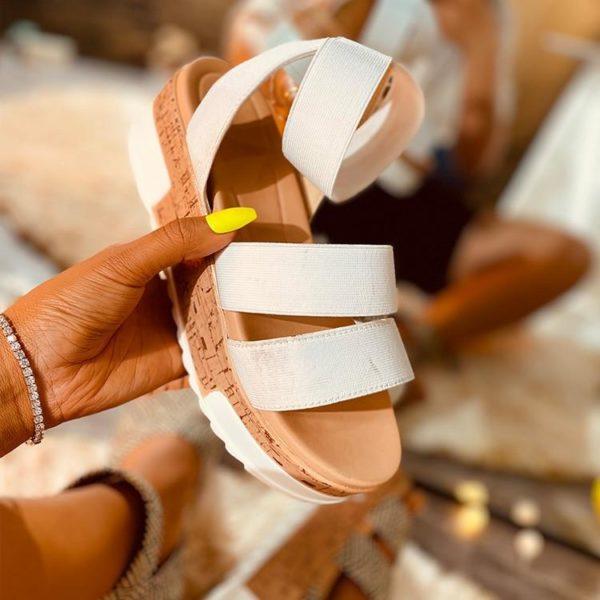 Sandales Été à Plateformes Minute Mode Blanc 42