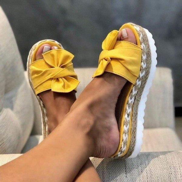 Sandales Nœud Papillon Minute Mode Jaune 42