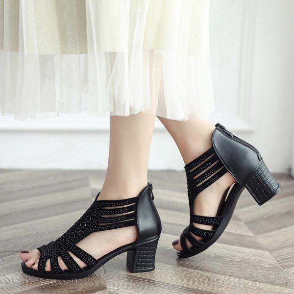 Sandales STRASS à Talons carrés Minute Mode Noir 37