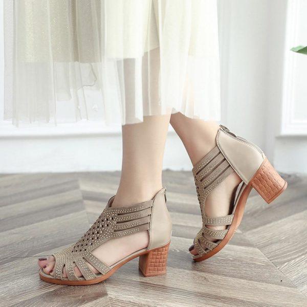 Sandales STRASS à Talons carrés Minute Mode Beige 35