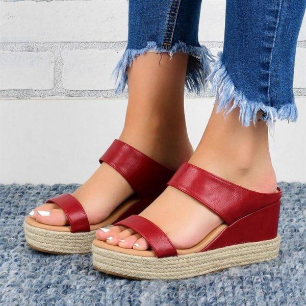 Sandales Compensées Ouvertes Minute Mode Rouge 43