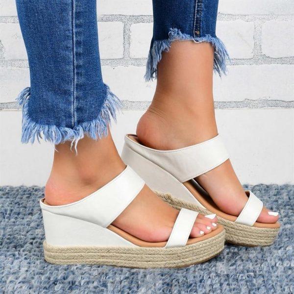 Sandales Compensées Ouvertes Minute Mode Blanc 43
