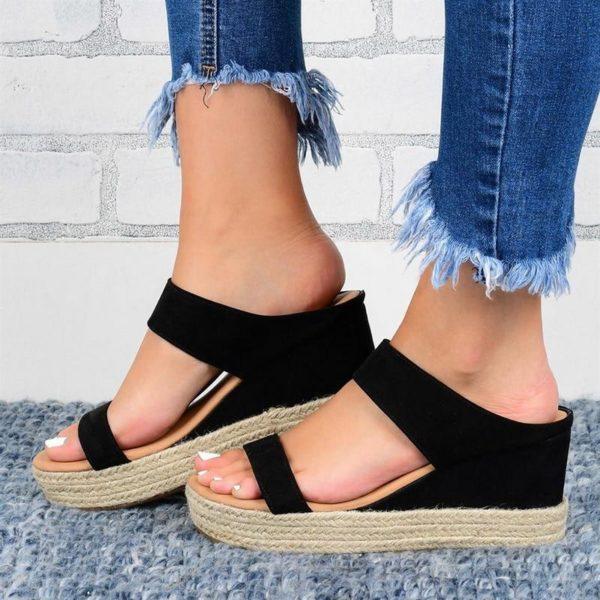 Sandales Compensées Ouvertes Minute Mode Noir 42