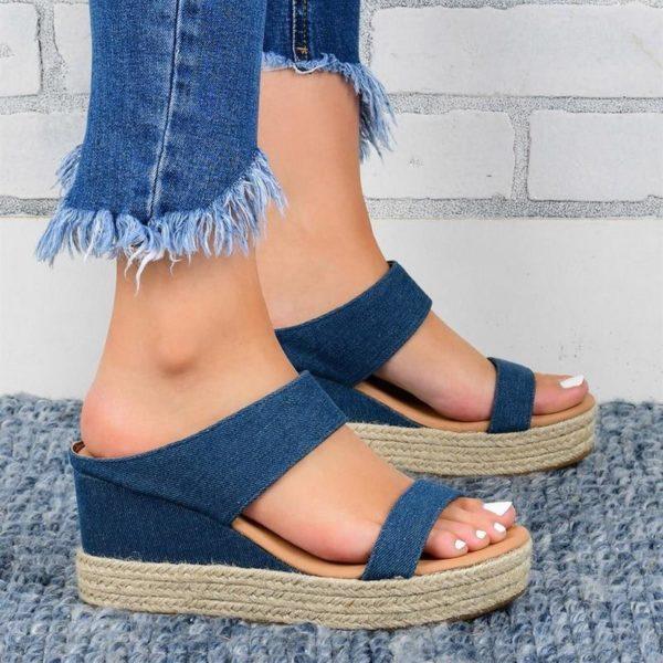 Sandales Compensées Ouvertes Minute Mode Bleu 41