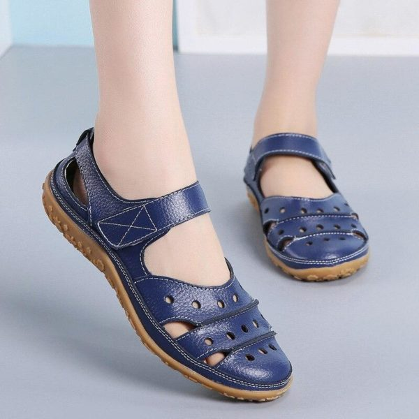 Sandales plates à fermeture velcro Minute Mode Bleu 42
