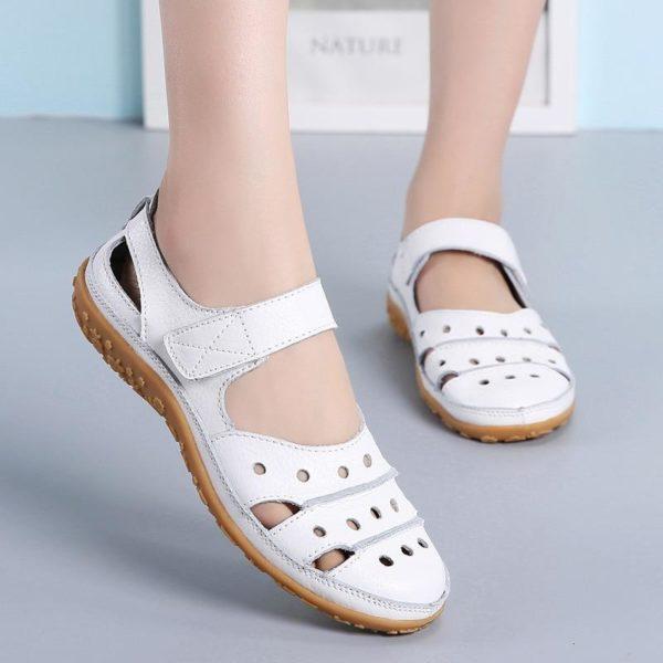Sandales plates à fermeture velcro Minute Mode Blanc 42