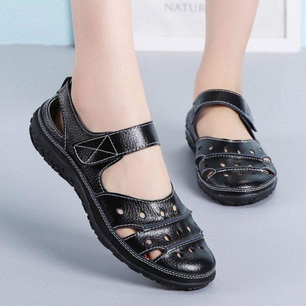 Sandales plates à fermeture velcro Minute Mode Noir 42