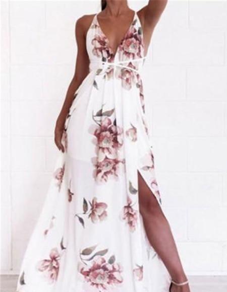 Robe Florale Fendue à Col en V Minute Mode Blanc S