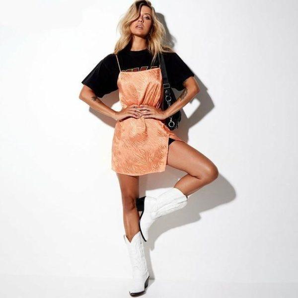 Mini Robe Fendue à Bretelles Site Vêtements Orange L