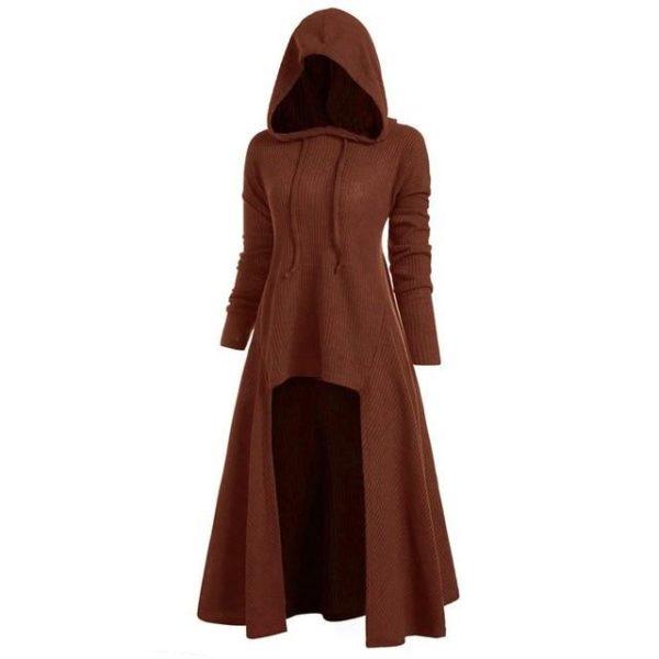 Manteau à Capuche Manches Longues Site Vêtements Marron L