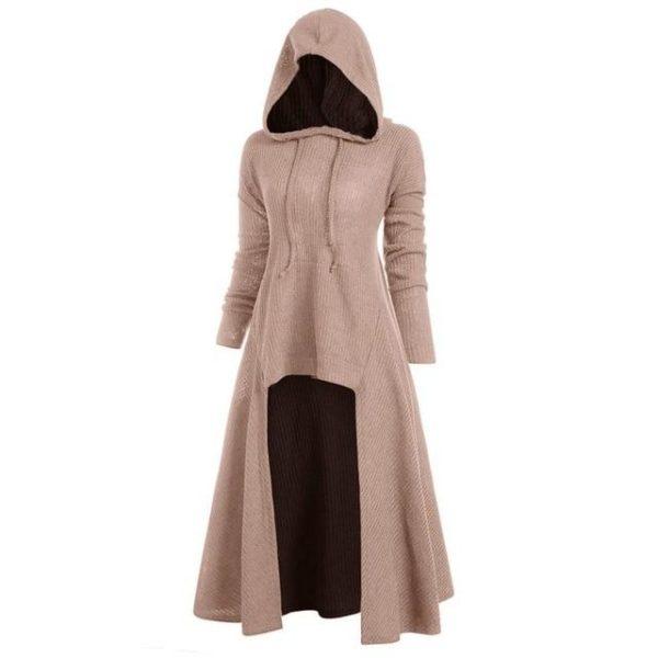 Manteau à Capuche Manches Longues Site Vêtements Beige XXXL