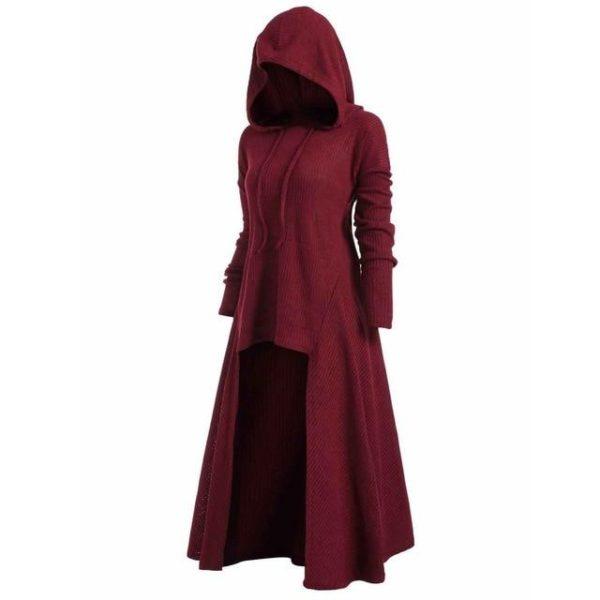 Manteau à Capuche Manches Longues Site Vêtements Rouge XXXL
