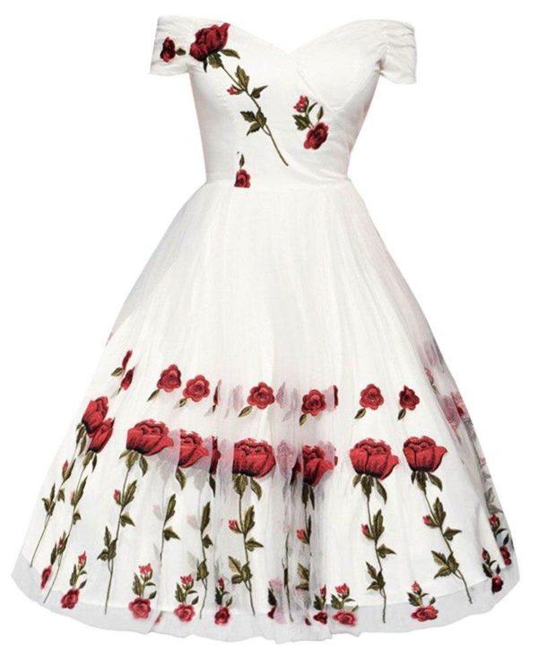 Robe Imprimée Épaules Dénudées Site Vêtements Blanc M