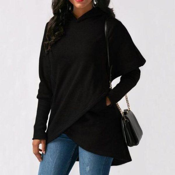 Sweat à Capuche Asymétrique Site Vêtements Black XXXL