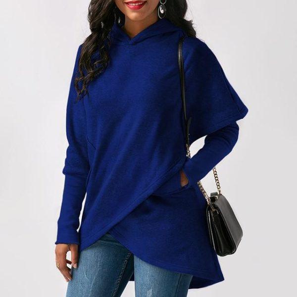 Sweat à Capuche Asymétrique Site Vêtements Blue S