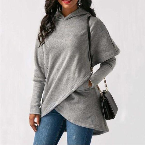 Sweat à Capuche Asymétrique Site Vêtements Gray S