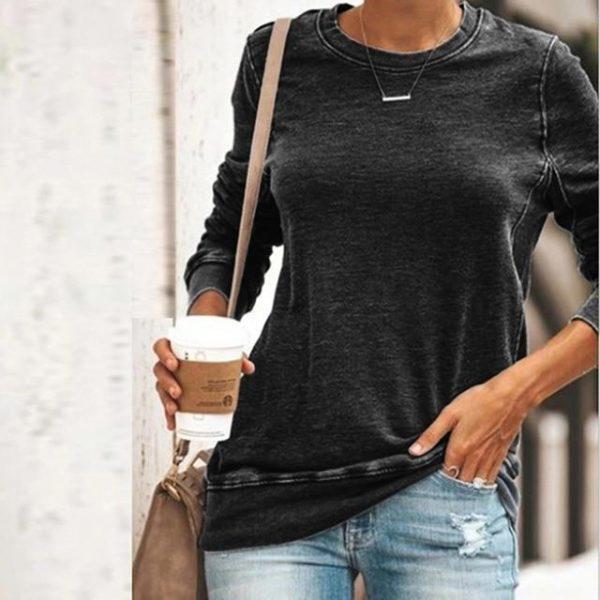 Sweat-shirt Uni décontracté Minute Mode Noir XXL