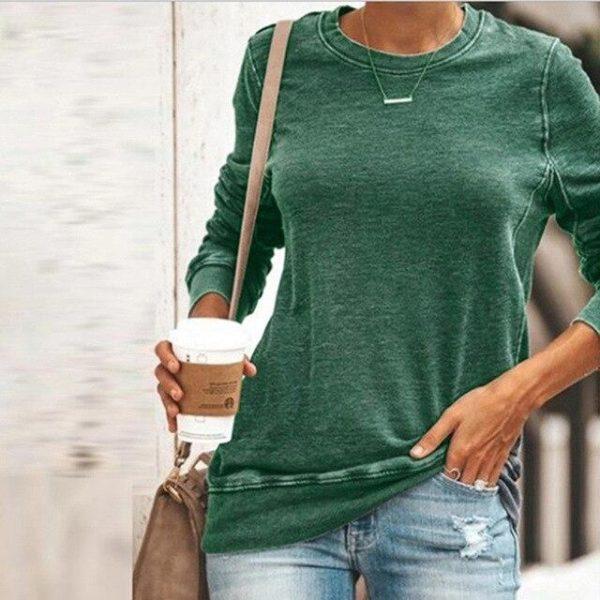 Sweat-shirt Uni décontracté Minute Mode Vert XXL