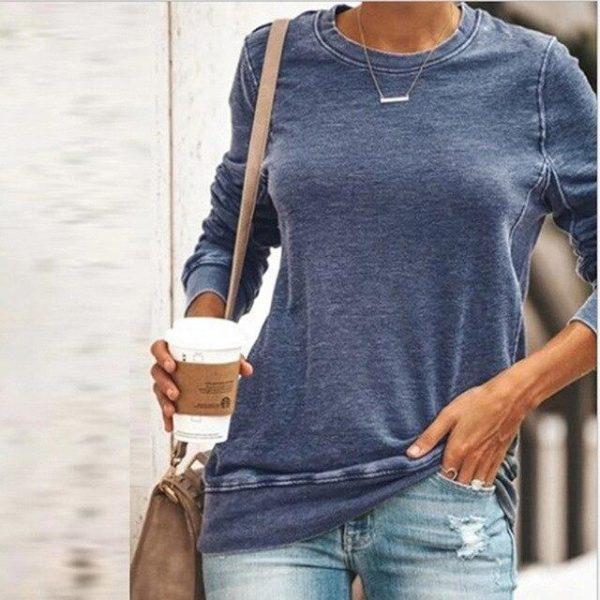 Sweat-shirt Uni décontracté Minute Mode Bleu L