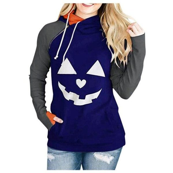 Sweat Col Montant HALLOWEEN Minute Mode Bleu S