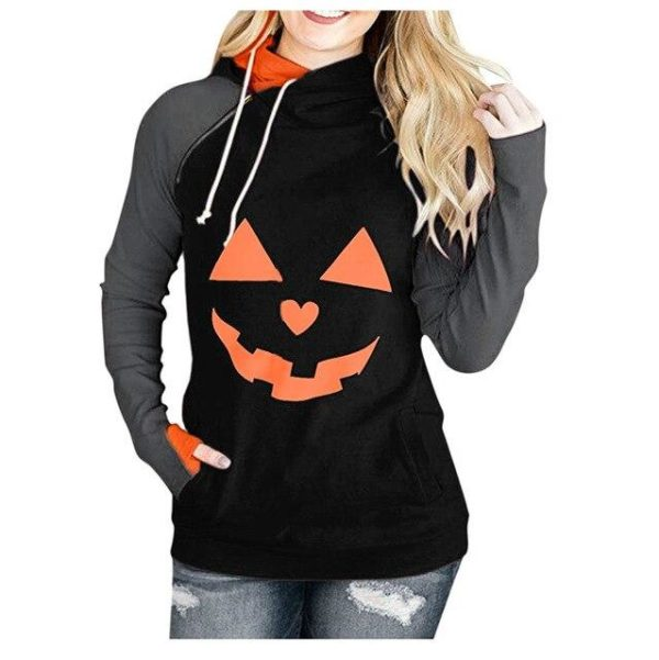 Sweat Col Montant HALLOWEEN Minute Mode Noir et Orange S