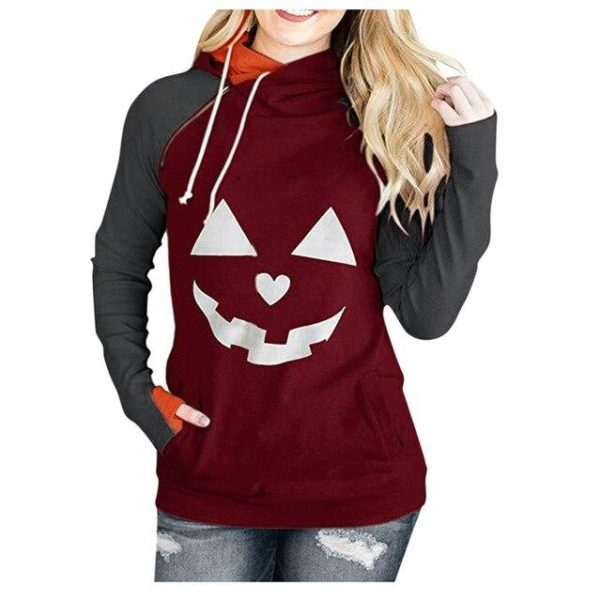 Sweat Col Montant HALLOWEEN Minute Mode Bordeaux S