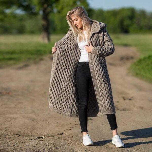 Cardigan Long à Capuche Site Vêtements