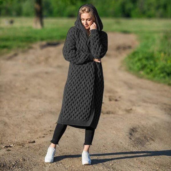 Cardigan Long à Capuche Site Vêtements Black S