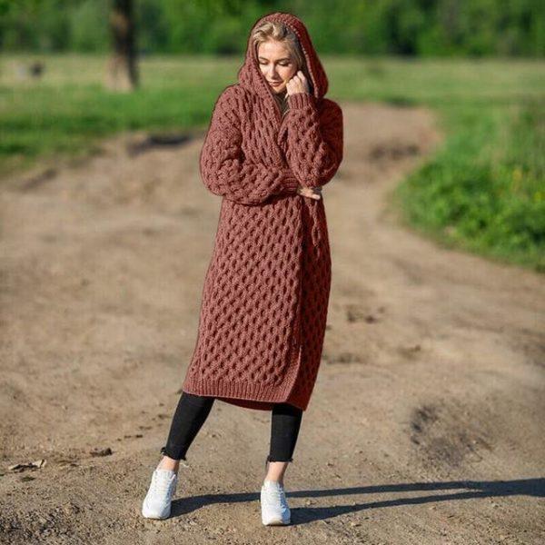 Cardigan Long à Capuche Site Vêtements Brown 4XL