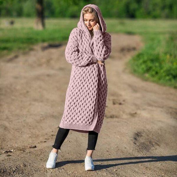 Cardigan Long à Capuche Site Vêtements Pink 4XL