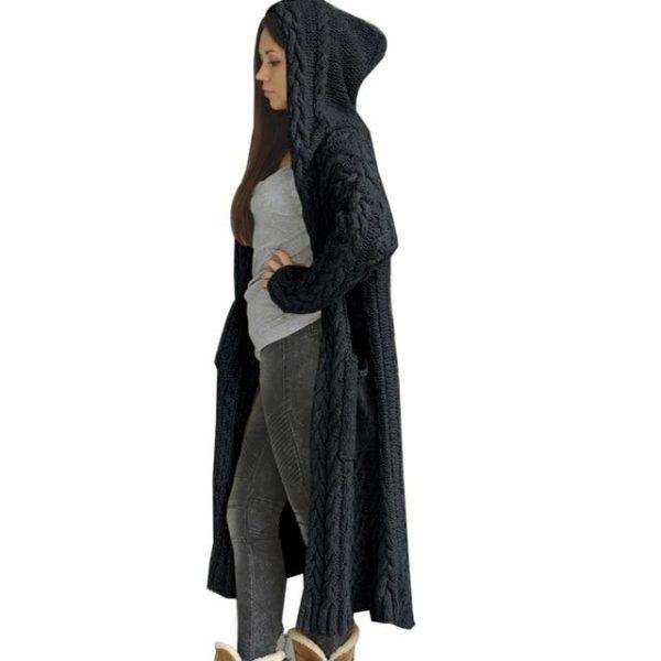 Cartigan Solide Longue à Capuche Site Vêtements L China Black