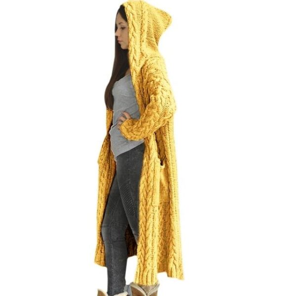 Cartigan Solide Longue à Capuche Site Vêtements L China Yellow