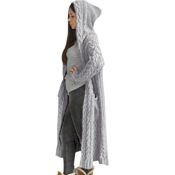 Cartigan Solide Longue à Capuche Site Vêtements L China Gray