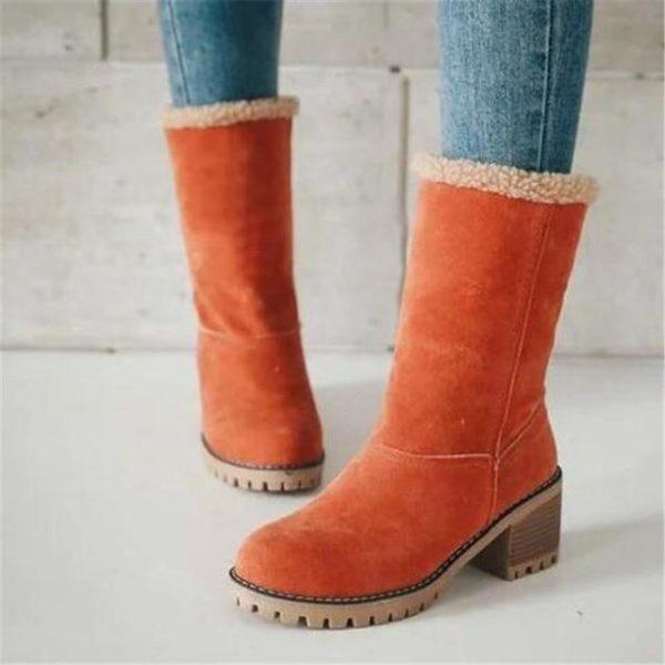 Bottine Chic à Fourrure Site Vêtements Orange 42