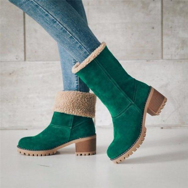 Bottine Chic à Fourrure Site Vêtements Vert 42