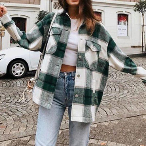 Manteau à Carreaux - Nouvelle Collection Site Vêtements Vert L